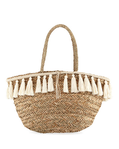 Wilmington Woven Beach Bucket Bag w/ Fringe