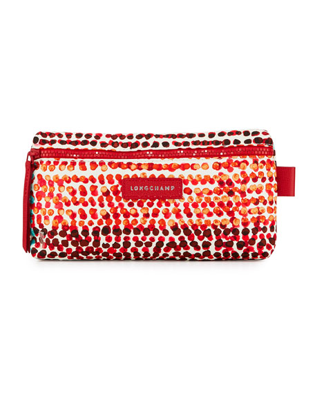 Longchamp Le Pliage Néo Polka-Dot Cosmetic Case, Red