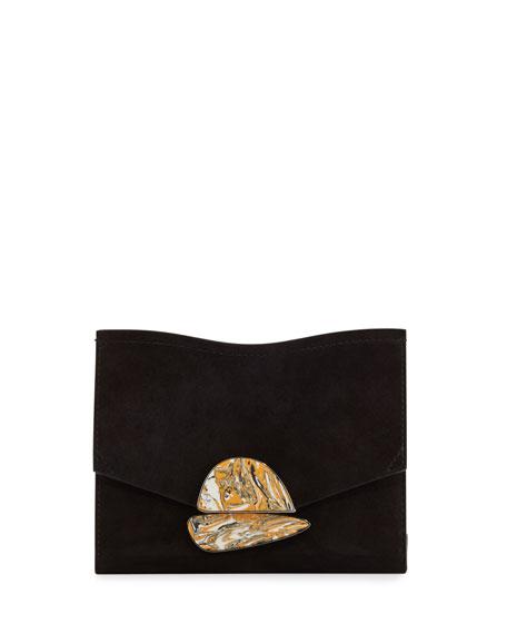 Proenza Schouler New Small Suede Clutch Bag, Black