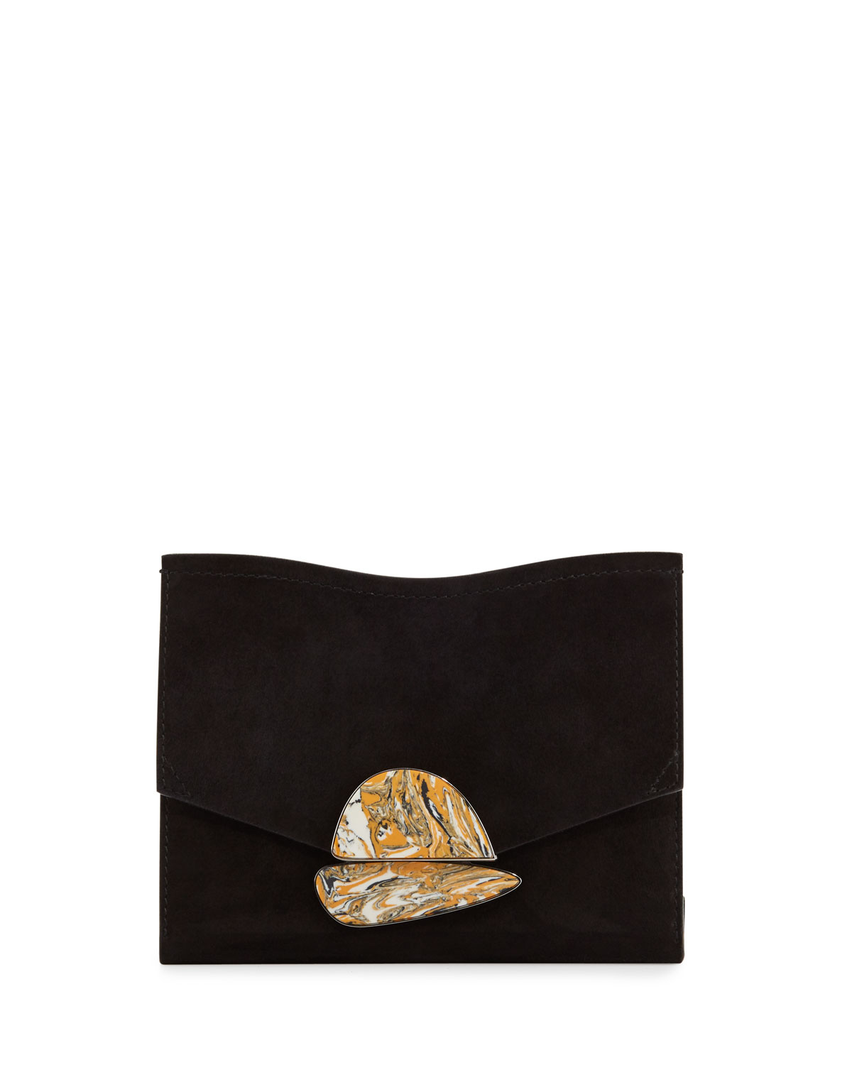 New Small Suede Clutch Bag Black