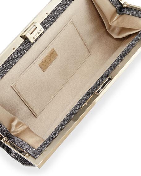 Camille Leopard Patent Glitter Clutch Bag, Gray/Black