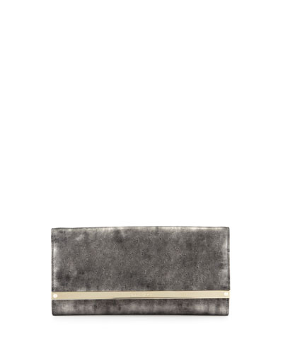 Milla Metallic Suede Clutch Bag, Gray