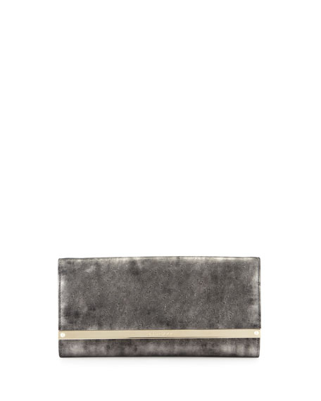 Jimmy Choo Milla Metallic Suede Clutch Bag, Gray