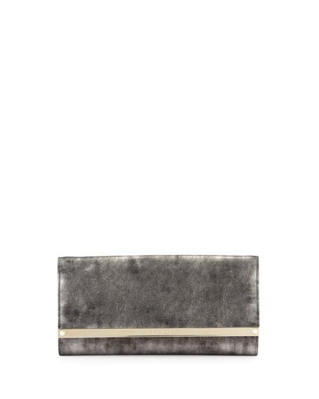 Milla Metallic Suede Clutch Bag, Gray