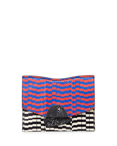 New Small Mixed-Print Snakeskin Clutch Bag, Multi