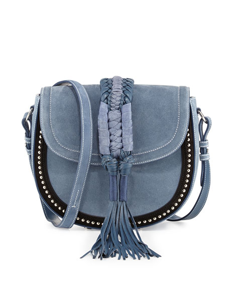 Ghianda Studded Suede Saddle Bag, Denim