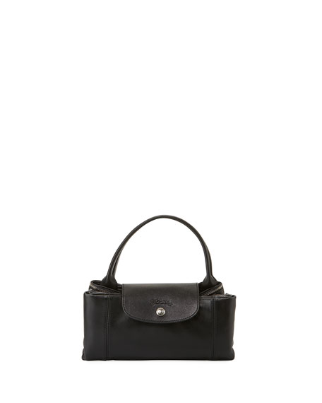 Le Pliage Cuir Medium Handbag with Shoulder Strap