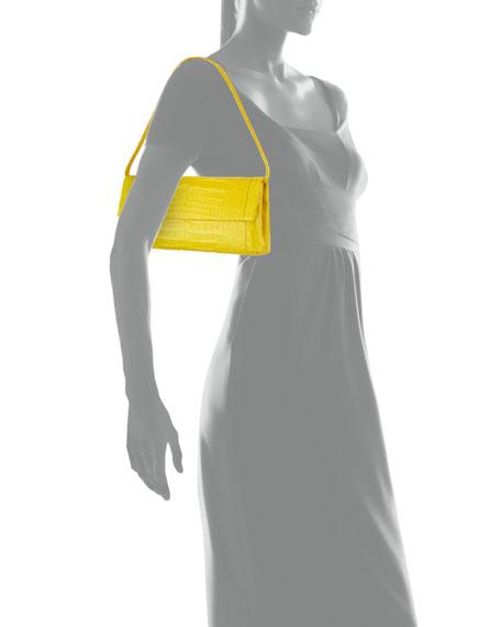 Gotham Crocodile Flap Clutch Bag, Yellow Matte