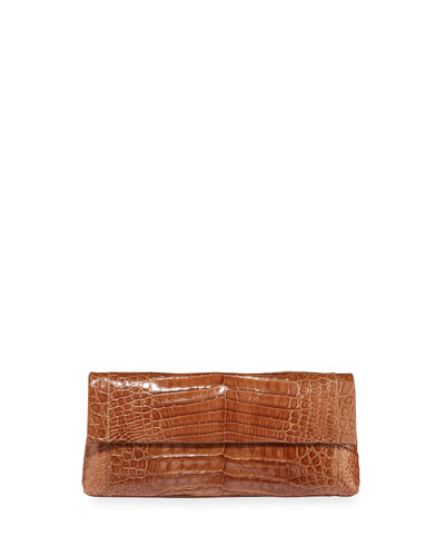 Gotham Crocodile Flap Clutch Bag, Yellow Matte