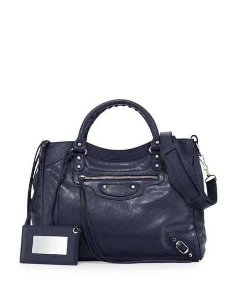 Balenciaga Classic Velo Crossbody Bag, Dark Blue