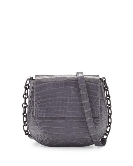 Crocodile Chain-Strap Saddle Bag