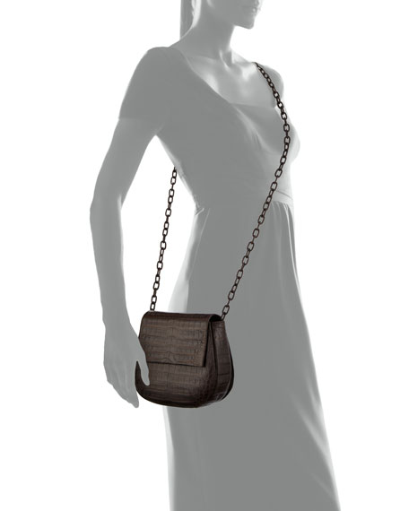 Crocodile Chain-Strap Saddle Bag