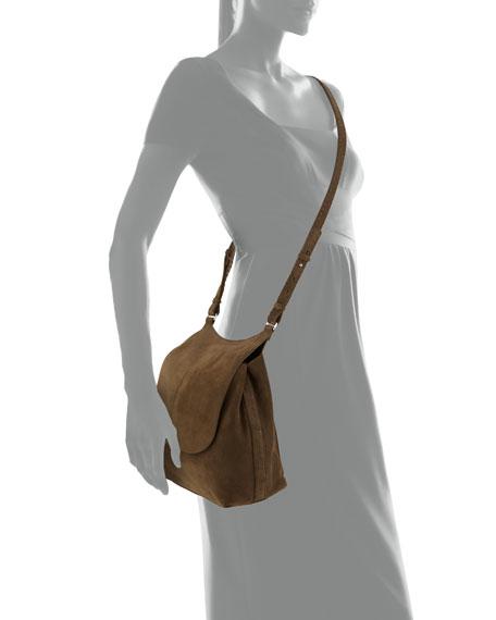 Sideby Suede Messenger Bag, Dark Olive