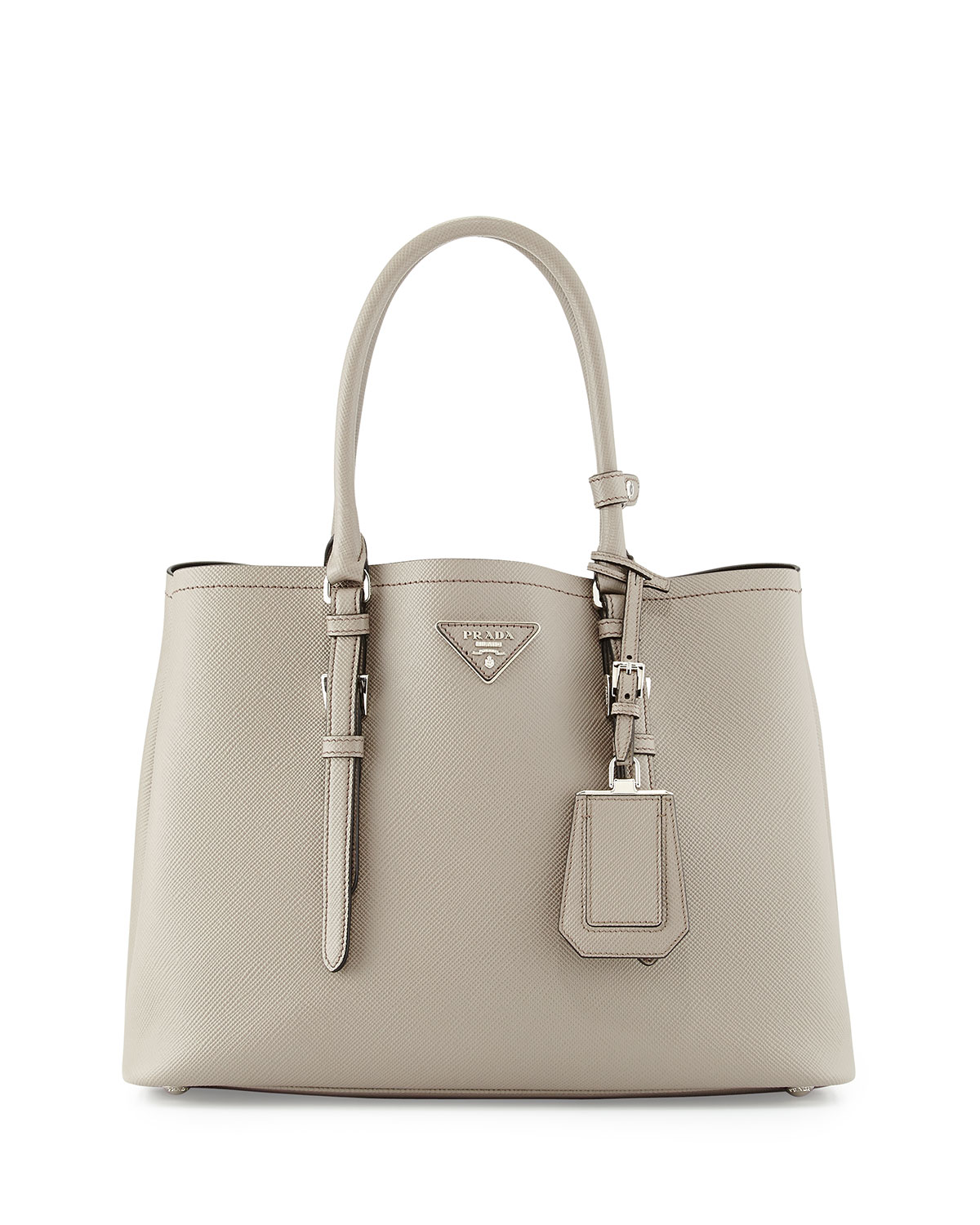 632f749a86e1 Prada Saffiano Cuir Covered-Strap Double Bag, Light Gray (Argilla ...