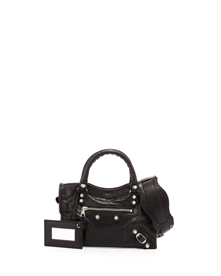 Balenciaga Rivet-Studded Mini Silver City Shoulder Bag, Black