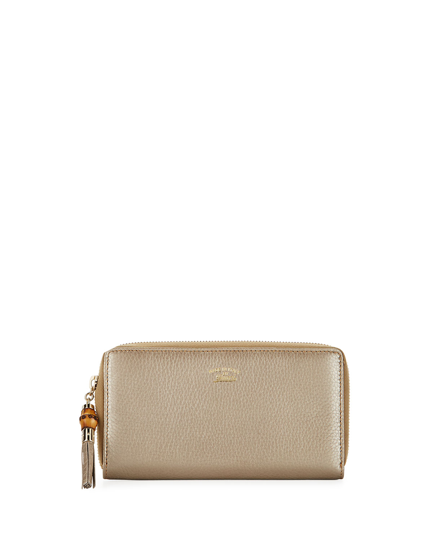 f67029fc006c Gucci Bamboo Tassel Leather Zip Around Wallet | Neiman Marcus