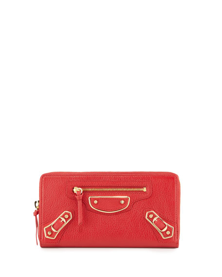 Metallic Edge Zip-Around Wallet, Red