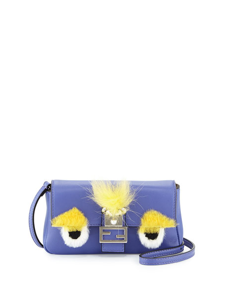 Fendi Baguette Micro Bag Bugs Crossbody Bag, Purple