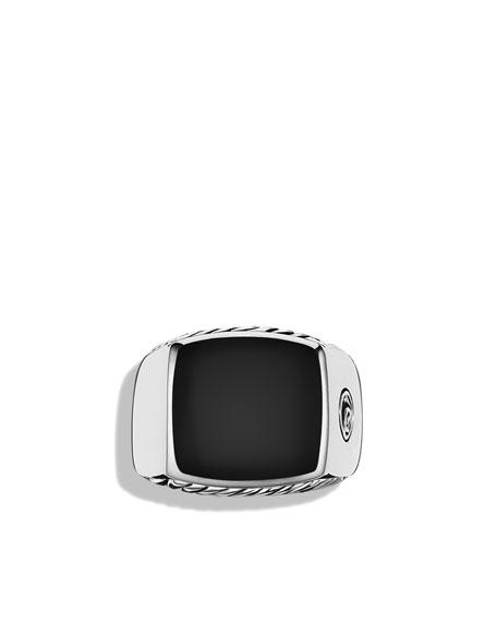 Exotic Stone Large Band Ring with Black Onyx