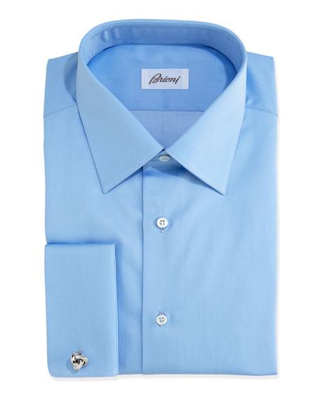 Solid French-Cuff Dress Shirt, Blue