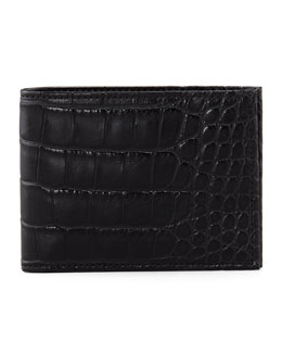 Neiman Marcus Alligator Bi-Fold Wallet, Black