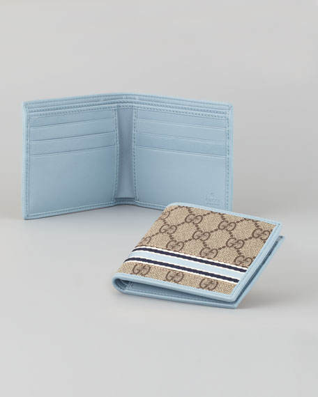 Leather Bi-Fold Wallet, Beige/Light Blue