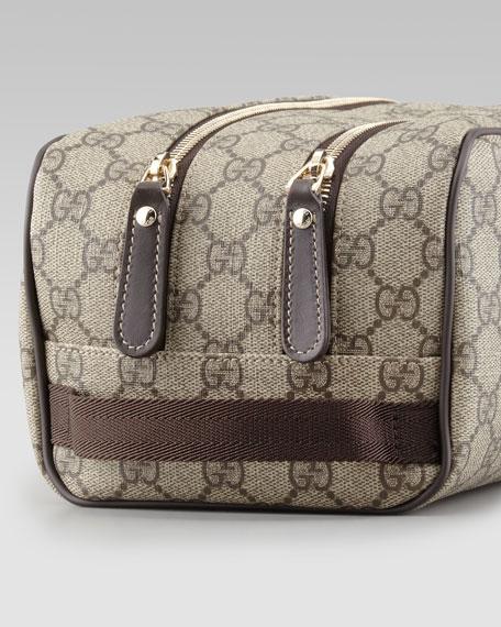 GG Supreme Toiletry Bag, Beige/Brown