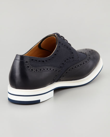 Lightweight Rubber-Sole Wing-Tip, Navy