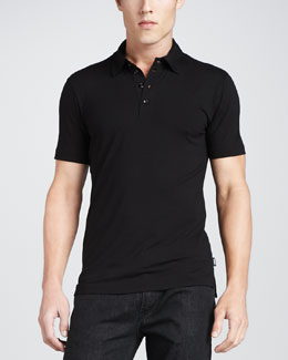 Armani Collezioni Stretch Short-Sleeve Polo, Black