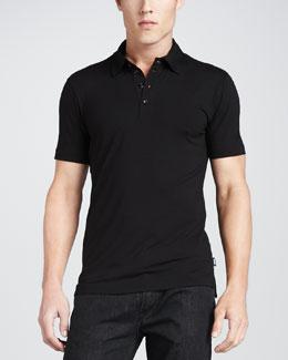 Armani Collezioni Stretch Short-Sleeve Polo, Black