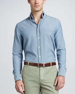 Brunello Cucinelli Chambray Button-Down Shirt