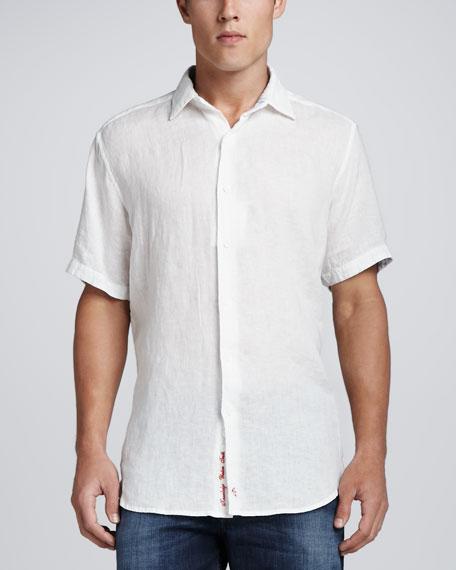 Double Tap Linen Sport Shirt, White