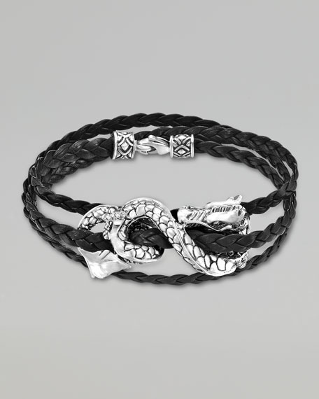 Naga Black Leather Triple-Wrap Dragon Bracelet