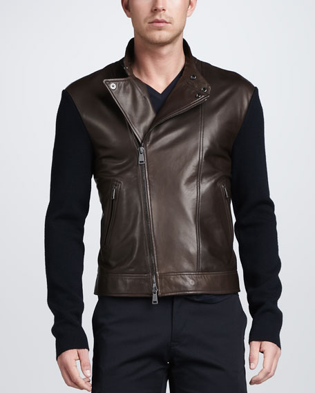 Leather Biker Jacket with Sweater-Knit Sleeves