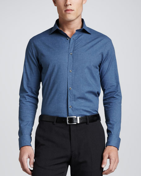 Heathered Stretch Cotton Shirt