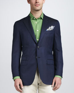 Kiton Herringbone Three-Button Blazer, Navy