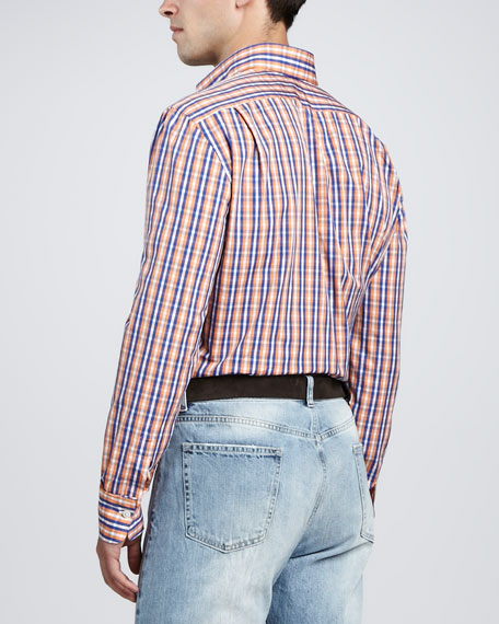 Check Dress Shirt, Orange/Blue