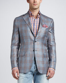 Kiton Three-Button Plaid Jacket