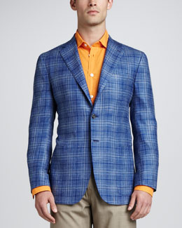 Kiton Two-Button Plaid Jacket