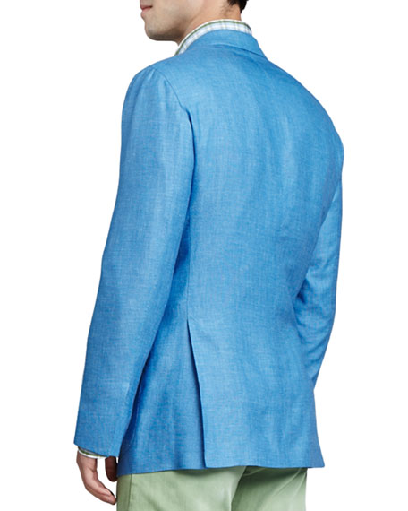Birdseye Three-Button Blazer, Blue