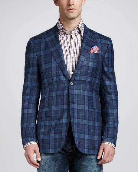 Plaid Three-Button Blazer, Blue/Navy