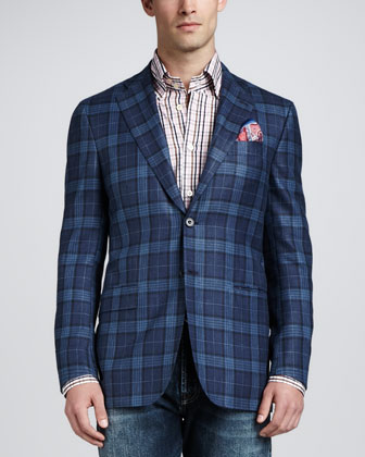 Plaid Three-Button Blazer, Blue/Navy