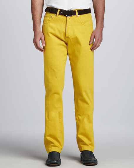 Washed Twill Five-Pocket Pants, Yellow