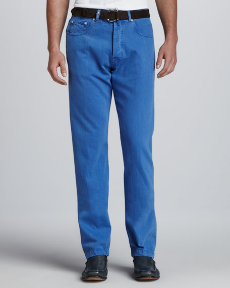 Washed Twill Five-Pocket Pants, Blue