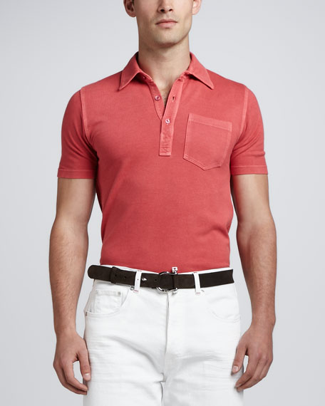 Knit Chest-Pocket Polo, Red