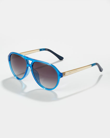Marco Enamel Aviator Sunglasses, Bright Blue