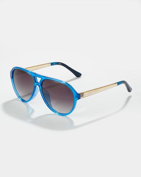 Marco Enamel Aviator Sunglasses, Bright Blue