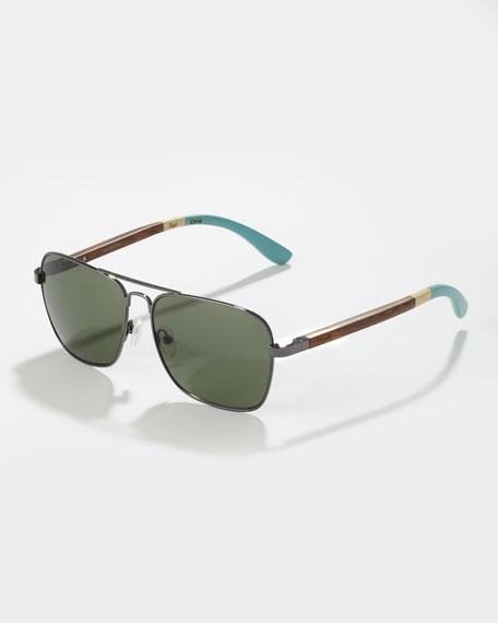 Navigator Sunglasses, Gunmetal