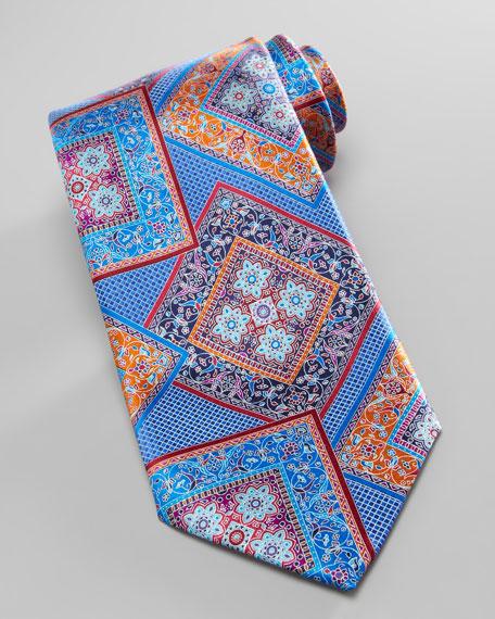 Quindici Squares Silk Tie, Blue