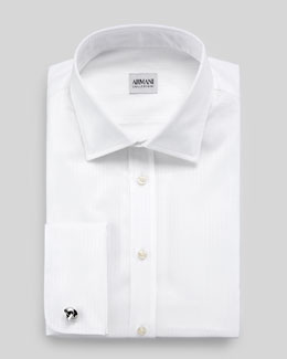 Armani Collezioni Modern-Fit Tonal Satin-Striped Dress Shirt, White
